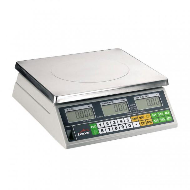 Báscula 15 kg Electrónica Sobremesa con Base Inox Cuadrada