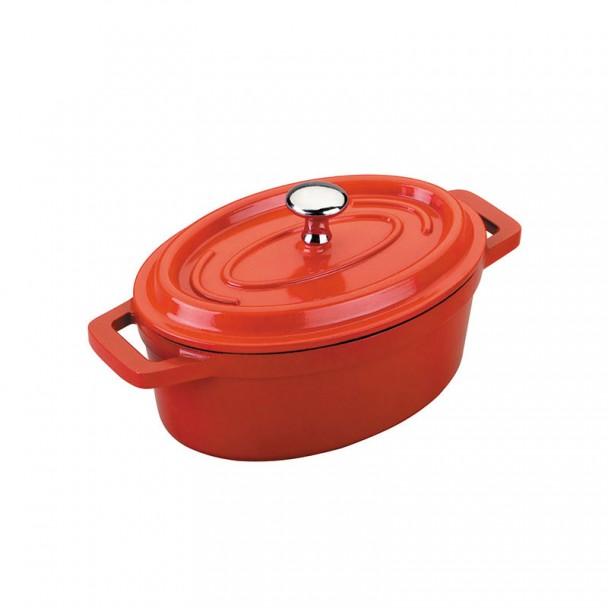 Cacerola Roja Mini Oval con Tapa Fundición
